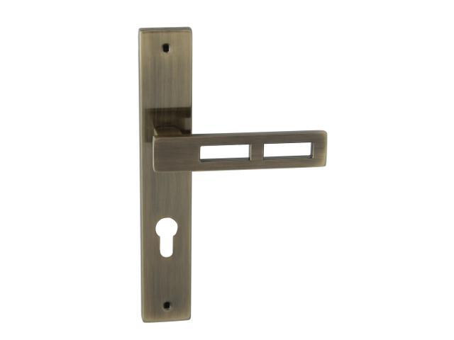 Klamka drzwiowa TOM II szyld długi wkładka bębenkowa brąz grafiatto Domino