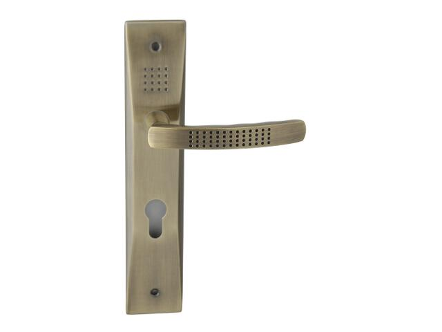Klamka drzwiowa OSLO szyld długi wkładka bębenkowa brąz grafiatto Yale