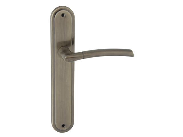 Klamka drzwiowa PRESTO szyld długi bez otworu brąz grafiatto Domino