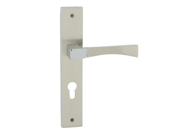 Klamka drzwiowa INSIGNIA szyld długi wkładka bębenkowa chrom/nikiel lakierowany Domino