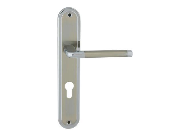 Klamka drzwiowa ELIZABETH szyld długi wkładka bębenkowa chrom/nikiel lakierowany Domino