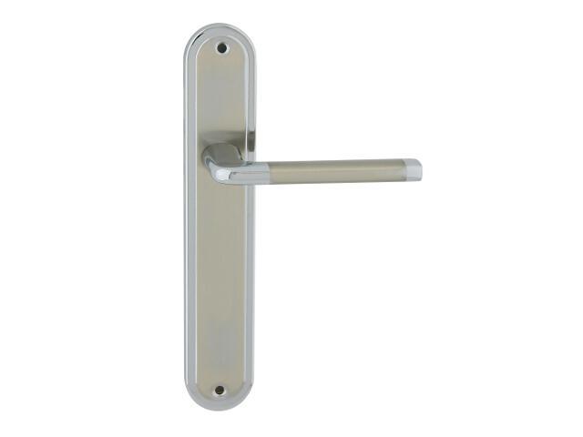 Klamka drzwiowa ELIZABETH szyld długi bez otworu chrom/nikiel lakierowany Domino