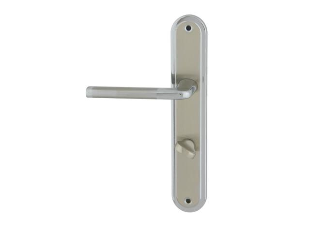 Klamka drzwiowa ELIZABETH szyld długi WC chrom/nikiel lakierowany lewa Domino