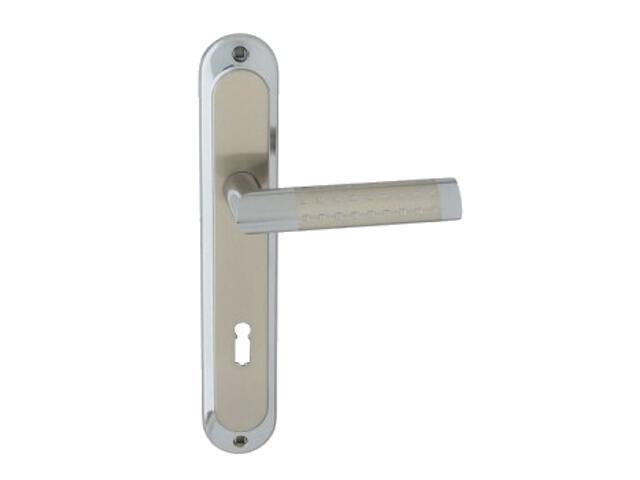Klamka drzwiowa GALAXY szyld długi klucz chrom/nikiel lakierowany Domino