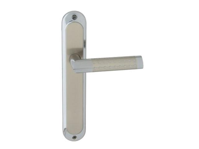 Klamka drzwiowa GALAXY szyld długi bez otworu chrom/nikiel lakierowany Domino