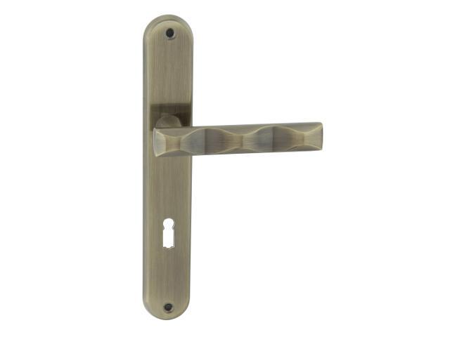 Klamka drzwiowa MODENA szyld długi klucz brąz grafiatto Domino