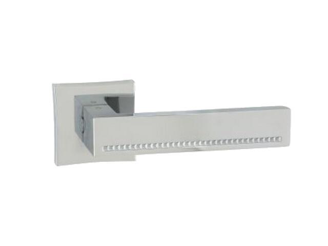 Klamka drzwiowa DELUX-QR szyld dzielony kwadratowy chrom lakierowany ORO&ORO