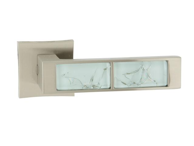 Klamka drzwiowa GAZELA-QR white szyld dzielony kwadratowy nikiel lakierowany ORO&ORO