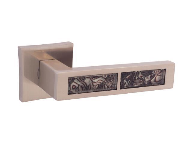 Klamka drzwiowa TIGER-QR black szyld dzielony kwadratowy nikiel satyna velvet ORO&ORO