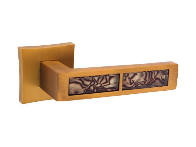 Klamka drzwiowa TIGER-QR red szyld dzielony kwadratowy nikiel satyna velvet ORO&ORO