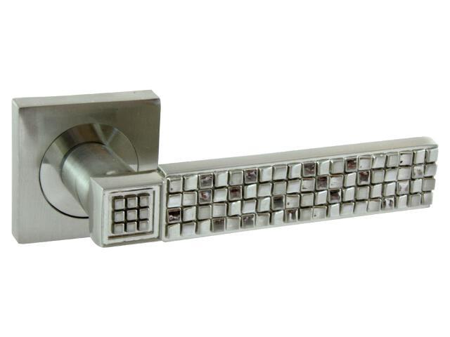 Klamka drzwiowa DOTS-QR szyld dzielony kwadratowy nikiel lakierowany Domino