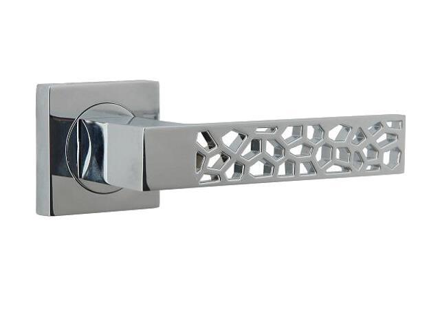 Klamka drzwiowa NET-QR szyld dzielony kwadratowy chrom lakierowany Domino