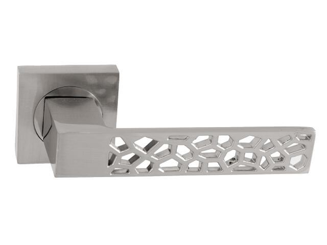 Klamka drzwiowa NET-QR szyld dzielony kwadratowy nikiel lakierowany Domino