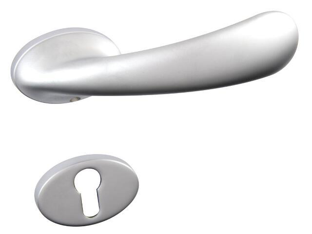 Klamka drzwiowa GRAN PIX-R szyld dzielony okrągły chrom satynowany + szyld dolny wkładka GHIDINI