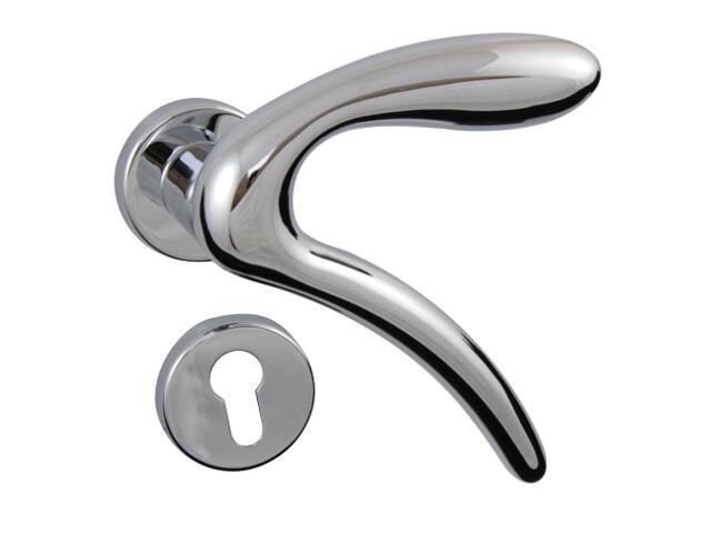 Klamka drzwiowa LEONARDO-R szyld dzielony okrągły chrom lakierowany+ szyld dolny wkładka GHIDINI