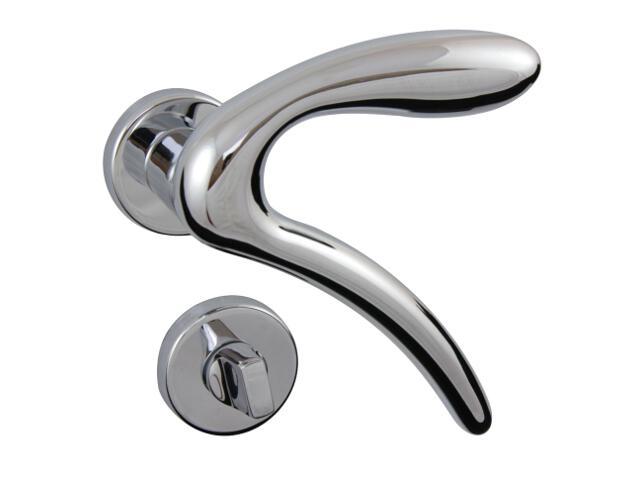 Klamka drzwiowa LEONARDO-R szyld dzielony okrągły chrom lakierowany + szyld dolny WC GHIDINI