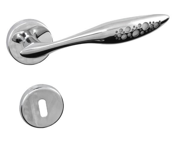 Klamka drzwiowa MORFEO-R szyld dzielony okrągły chrom lakierowany + szyld dolny klucz GHIDINI