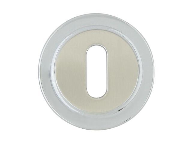 Szyld drzwiowy okrągły 555 klucz chrom lakierowany/nikiel lakierowany ROSSETTI
