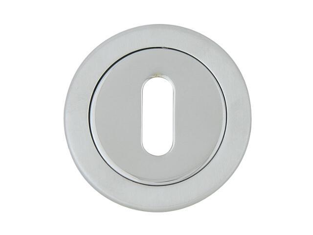 Szyld drzwiowy okrągły 555 klucz chrom lakierowany/chrom satyna ROSSETTI