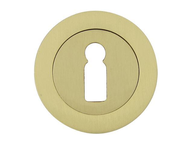 Szyld drzwiowy okrągły 600 klucz mosiądz satyna Domino