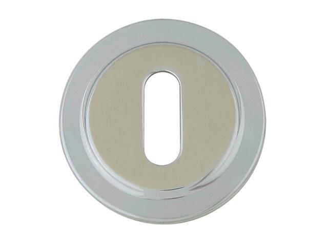 Szyld drzwiowy okrągły 555 klucz chrom perłowy/nikiel lakierowany ROSSETTI
