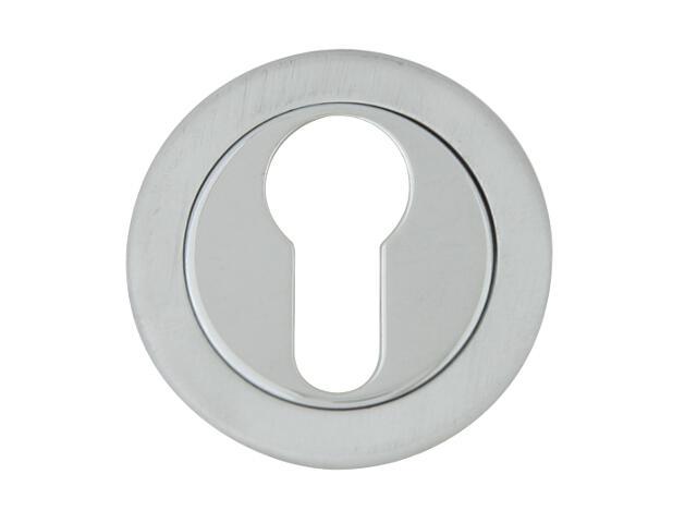Szyld drzwiowy okrągły 555 wkładka bębenkowa chrom lakierowany/satyna ROSSETTI