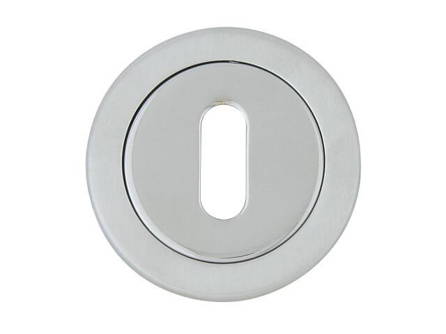Szyld drzwiowy okrągły 555 klucz chrom lakierowany/satyna ROSSETTI