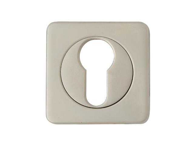 Szyld drzwiowy kwadratowy ALMA-Q wkładka bębenkowa nikiel satyna Domino