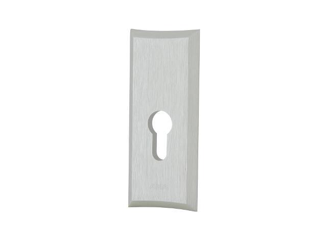 Szyld drzwiowy zewnętrzny prostokątny NESTOR wkładka bebenkowa srebrny mat klasa I AXA