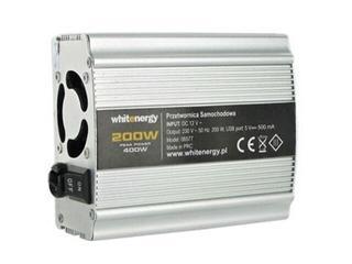 Przetwornica samochodowa DC 12VAC 230V 200W + USB 06577 Whitenergy