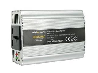 Przetwornica samochodowa DC 12VAC 230V 350W + USB 06579 Whitenergy