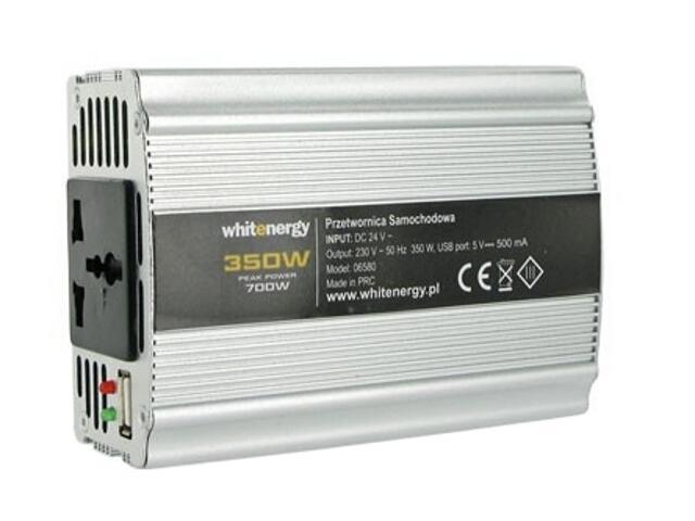 Przetwornica samochodowa DC 24VAC 230V 350W + USB 06580 Whitenergy