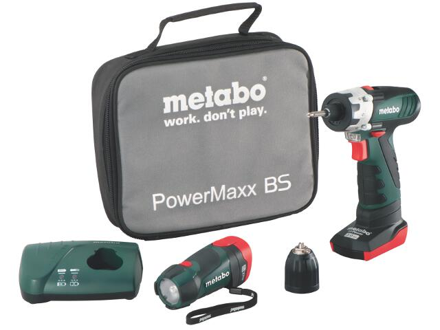 Wiertarko-wkrętarka PowerMaxx BS Basic ładowarka LC 40 z walizką 10,8V Metabo