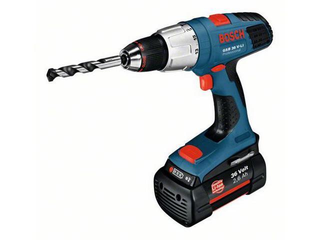Wiertarko-wkrętarka udarowa GSB 36 V-LI 2x2,6Ah bez akumulatorów i ładowarki 601913100 Bosch