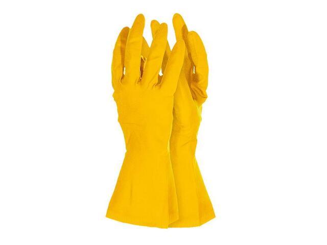 Rękawice gumowe ochronne flokowane rozm. L REIS