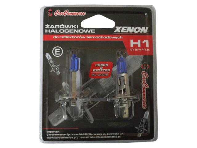 Zestaw żarówek XENON H1 12V 55W P14.5s 2szt.-blister CarCommerce