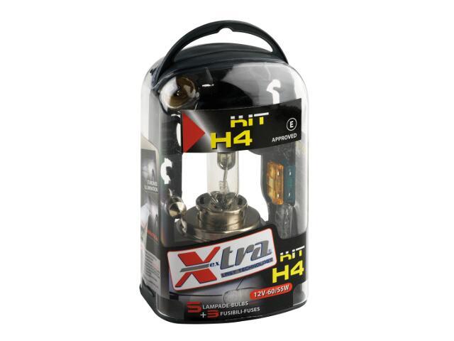 Zestaw żarówek H4 dwuświatłowa jednoświatłowa rurowa Micro+3szt bezpieczniki+50% Light Xextra