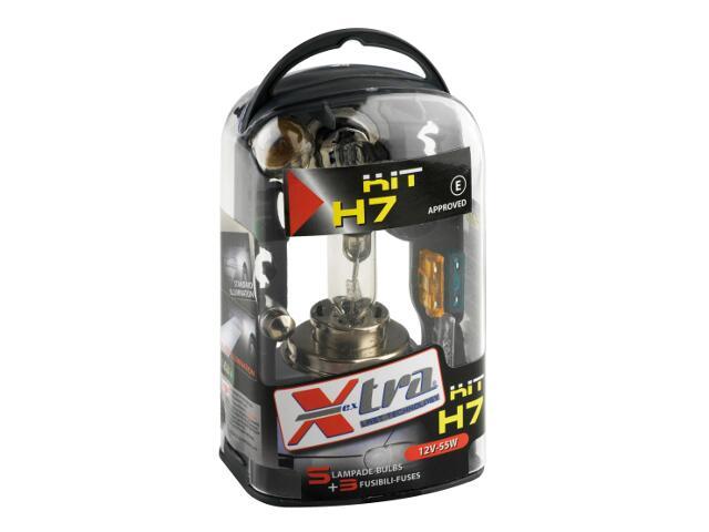 Zestaw żarówek H7 dwuświatłowa jednoświatłowa rurowa Micro+3szt bezpieczniki+50% Light Xextra