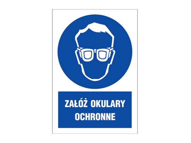 """Znak """"Załóż okulary ochronne"""" Z-2N1-P rozm. 220x300 ANRO"""