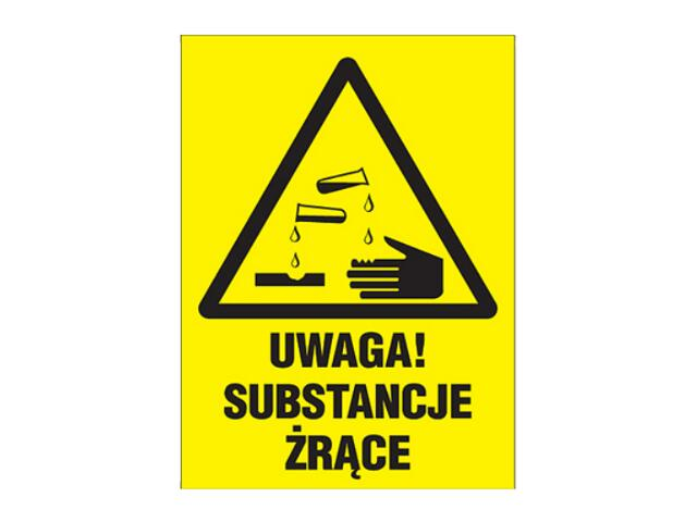 """Znak """"Uwaga substancje żrące"""" Z-3O1-FS rozm. 220x300 ANRO"""