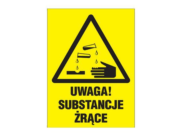 """Znak """"Uwaga substancje żrące"""" Z-3O1-P rozm. 220x300 ANRO"""