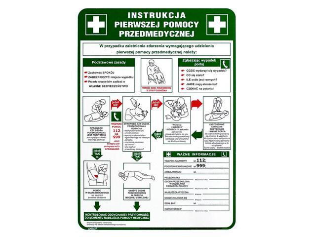 """Instrukcja ogólna """"Instrukcja pierwszej pomocy przedmedycznej"""" Z-IB13-P rozm. 250x350 ANRO"""