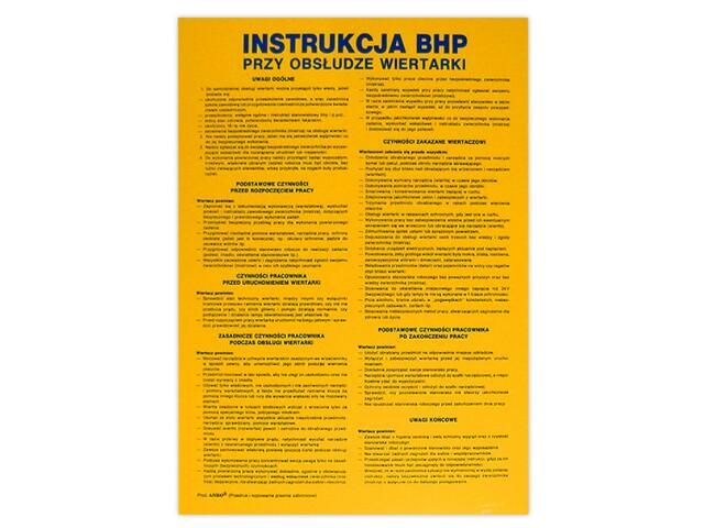 """Instrukcja ogólna """"BHP przy obsłudze wiertarki"""" Z-IBM23-P rozm. 330x460 ANRO"""