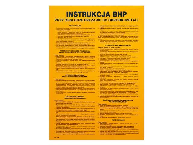 """Obróbka metali - instrukcja BHP """"BHP przy obsłudze frezarki do...""""Z-IBM22-P rozm. 330x460 ANRO"""
