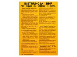 """Obróbka drewna - instrukcja BHP """"przy obsłudze piły tarczowej..."""" Z-IBD04-P rozm. 330x460 ANRO"""