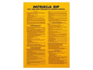 """Obróbka drewna - instrukcja BHP """"przy obsłudze frezarek do drewna"""" Z-IBD10-P rozm. 250x460 ANRO"""