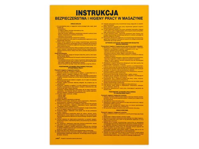 """Magazynowanie - instrukcja BHP """"w magazynach"""". Z-IPT01-P rozm. 330x460 ANRO"""