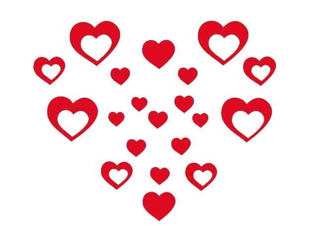 Naklejka dekoracyjna welurowa serca 675012-6 Klimaty Domu
