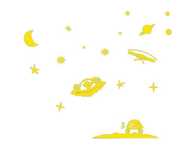 Naklejka dekoracyjna welurowa planety 673040-3 Klimaty Domu