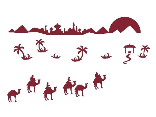 Naklejka dekoracyjna welurowa wielbłądy 673066-11 Klimaty Domu